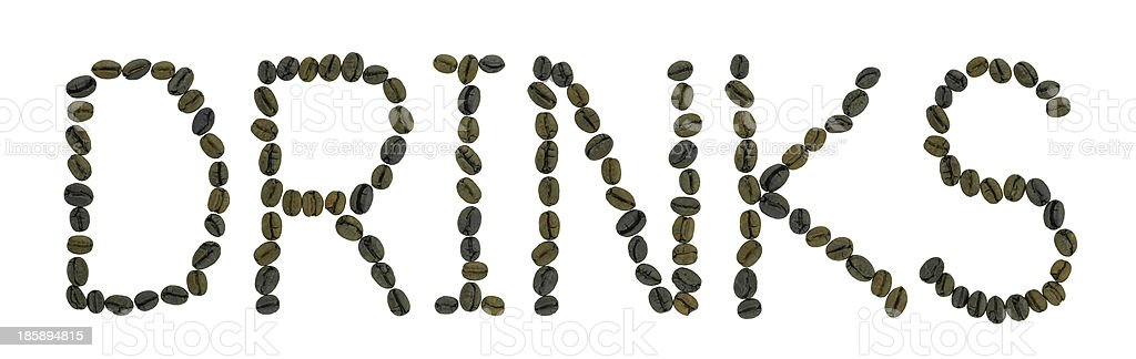 word DRINKS made of coffee beans royalty-free stock photo