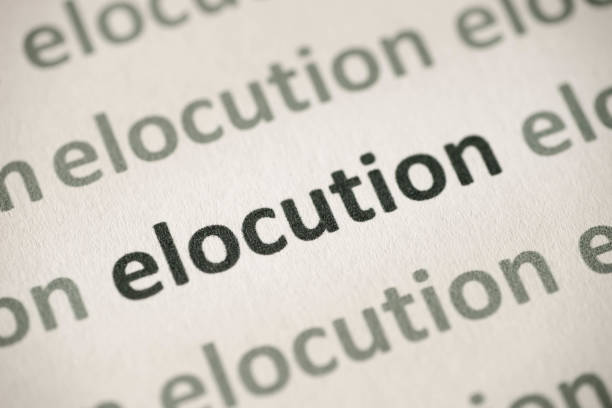 word elocution printed on paper macro - diction stock pictures, royalty-free photos & images