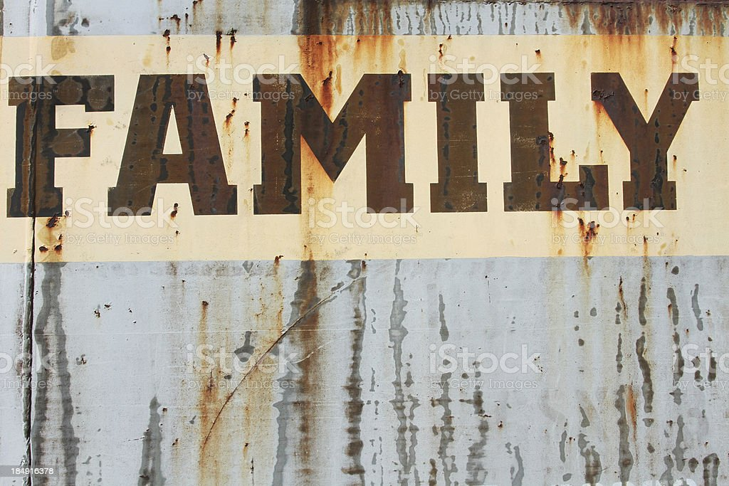 Word Family in peeling paint on rusted metal. Text. royalty-free stock photo