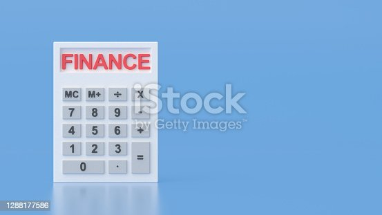 Word Finance on White Plaster Calculator