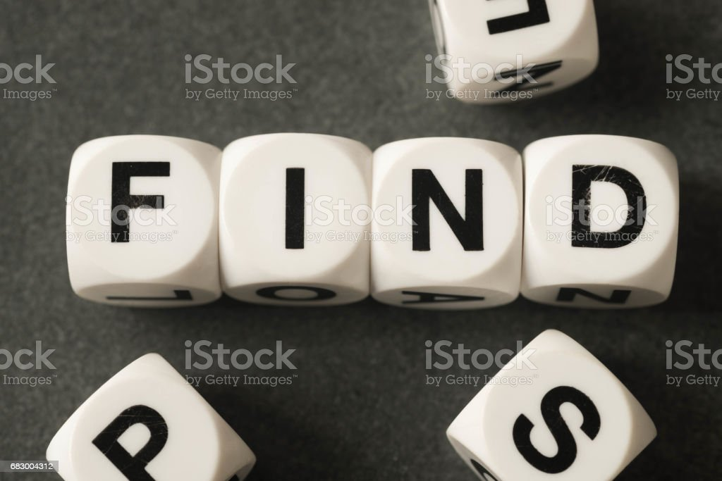 word find on toy cubes stock photo