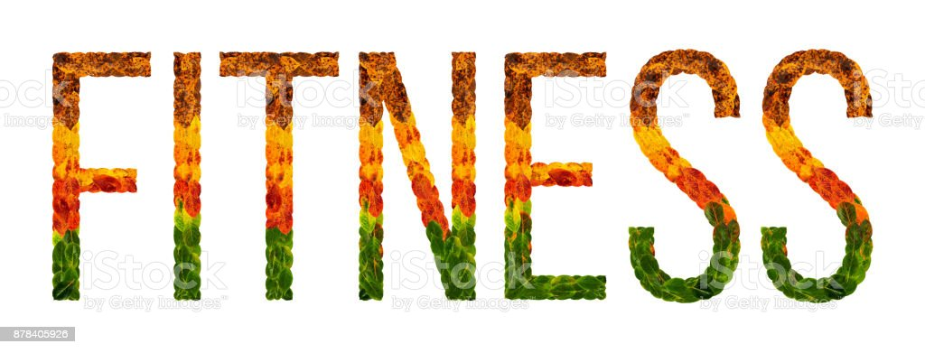 Word Fitness Written With Leaves White Isolated Background Banner For Printing Creative Illustration Of