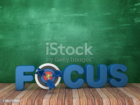 3D Word FOCUS with Target on Chalkboard Background - 3D Rendering