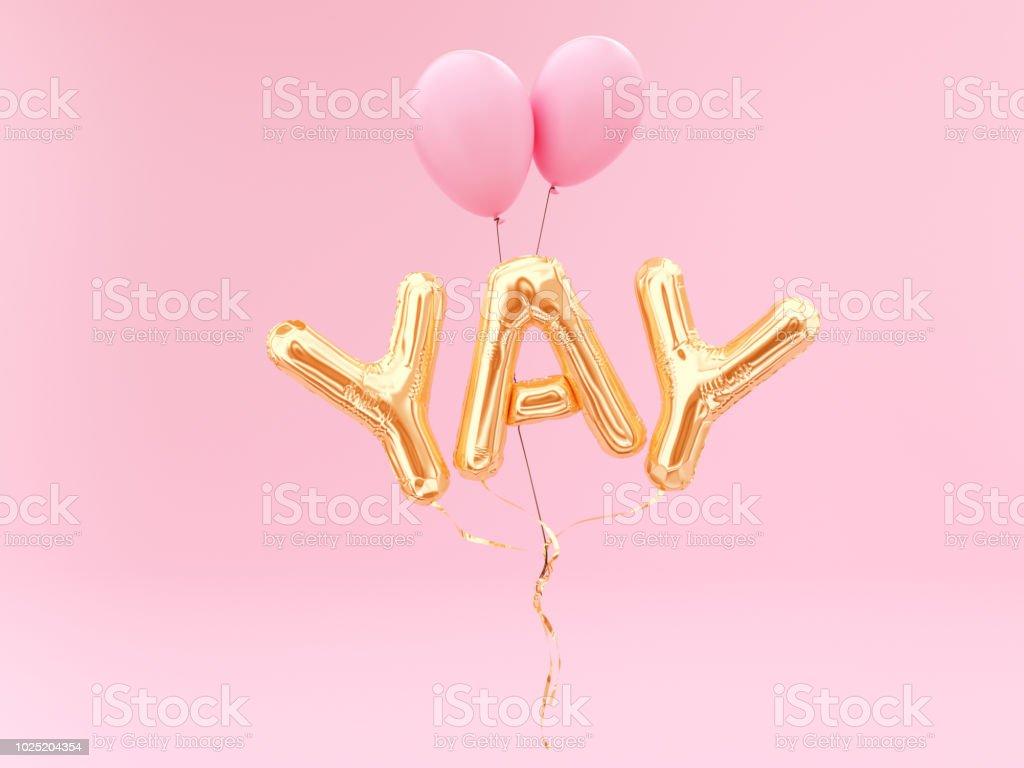 YAY ordet, folie ballong bokstäver bildbanksfoto