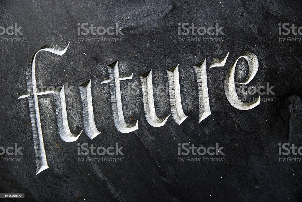 Word 'future' carved in stone royalty-free stock photo