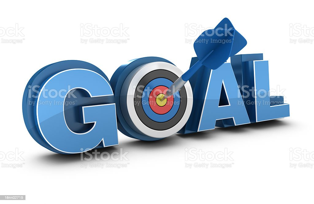 3D Word GOAL with Target and Dart royalty-free stock photo