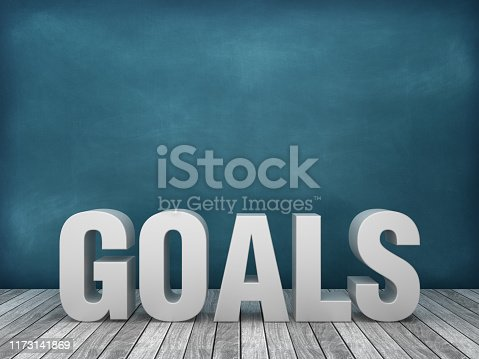 3D Word GOALS on Chalkboard Background - 3D Rendering