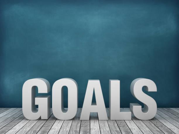 3d word goals op schoolbord achtergrond-3d rendering - omgeving stockfoto's en -beelden