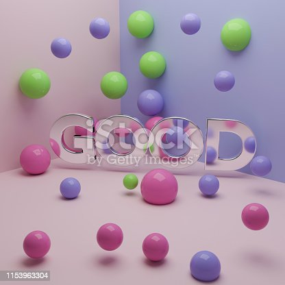 istock Word good with metallic texture and spheres. 3d illustration 1153963304