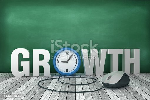 3D Word GROWTH with Clock on Chalkboard Background - 3D Rendering
