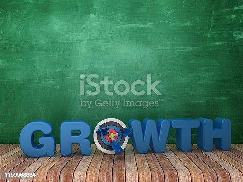 469652019 istock photo 3D Word GROWTH with Target on Chalkboard Background - 3D Rendering 1159568834