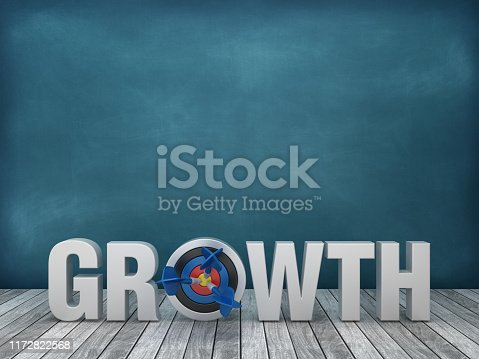469652019 istock photo 3D Word GROWTH with Target on Chalkboard Background - 3D Rendering 1172822568