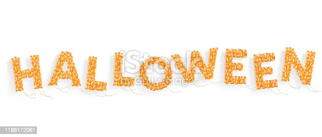 istock Word Halloween made of flying helium balloon with ribbons, element of decoration 1188172061