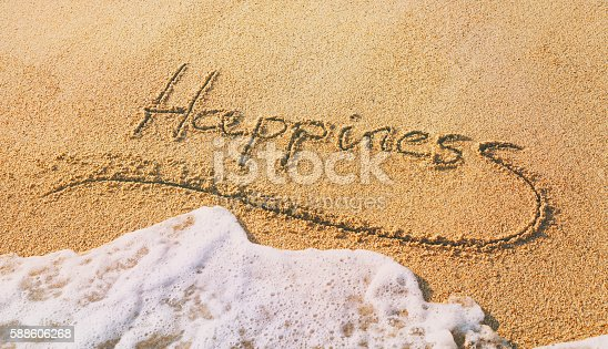 Word happiness written in the sand with a wave covering it