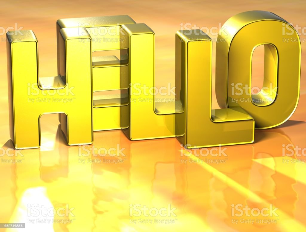 3D Word Hello on yellow background stock photo