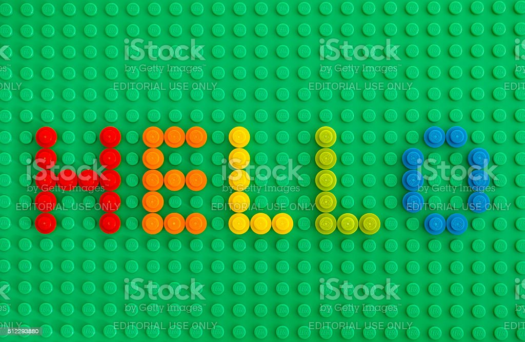 Word Hello spell out from Lego Round Bricks - 免版稅1號圖庫照片