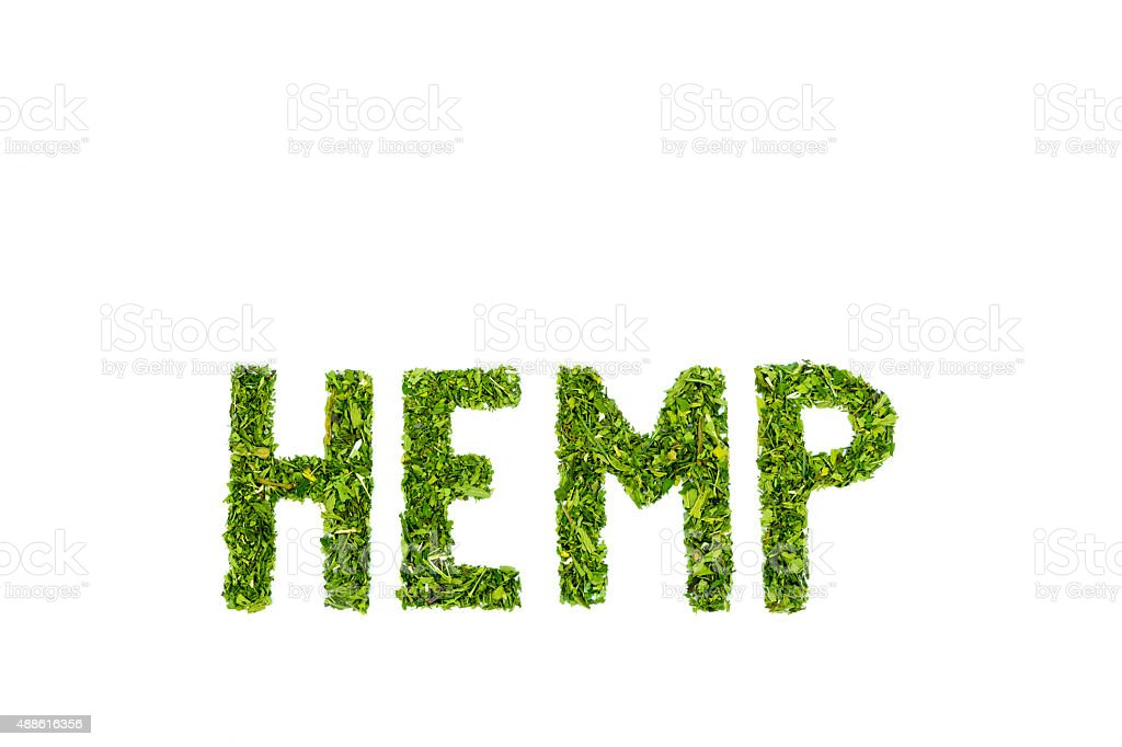 Word HEMP made of cut green hemp leaves stock photo