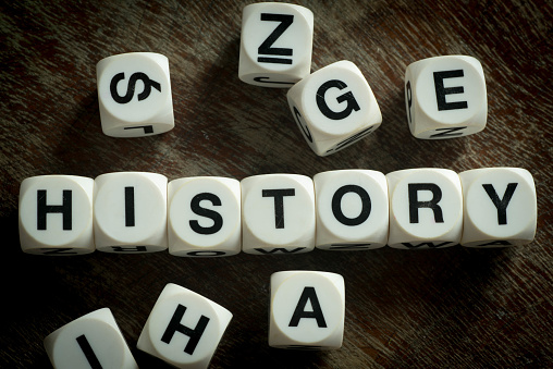 word history on toy cubes
