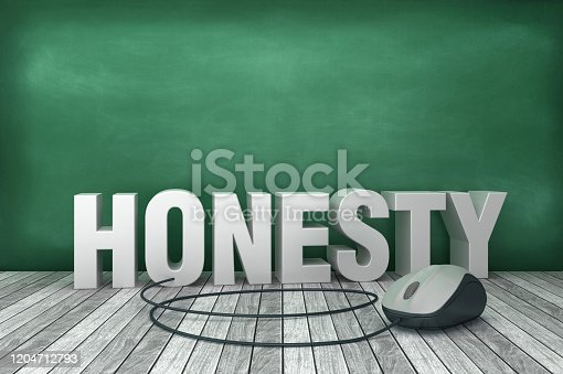 3D Word HONESTY with Computer Mouse on Chalkboard Background - 3D Rendering