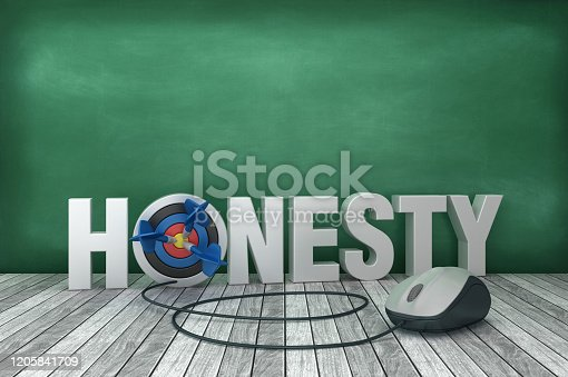 3D Word HONESTY with Target and Computer Mouse on Chalkboard Background - 3D Rendering