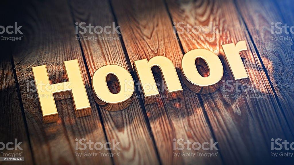 Word Honor on wood planks stock photo