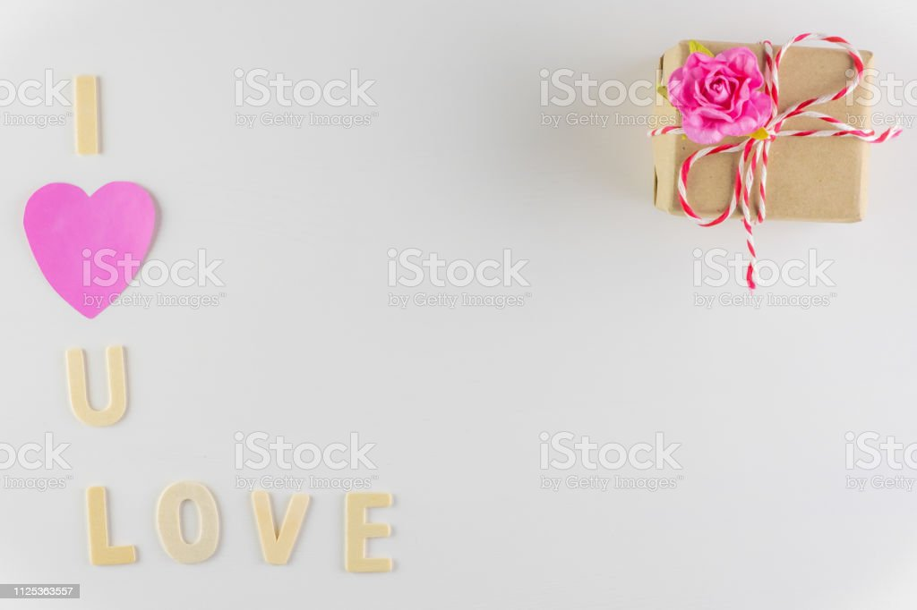 Word I Love You And Love On White Background With Space For Text