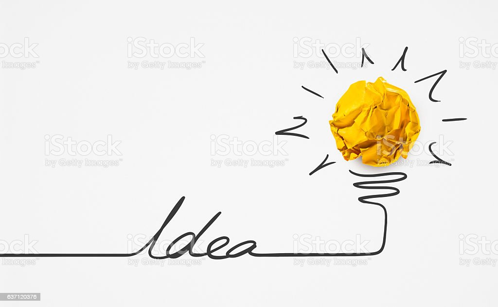 Word idea with paper crumpled ball.Creative concept. stock photo