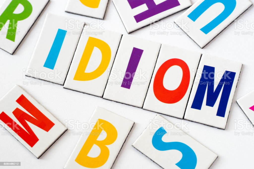 word idiom  made of colorful letters stock photo