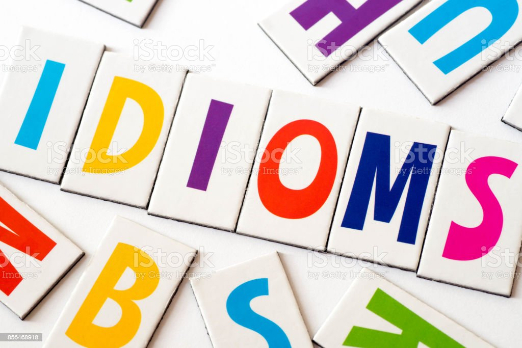 word idioms made of colorful letters stock photo
