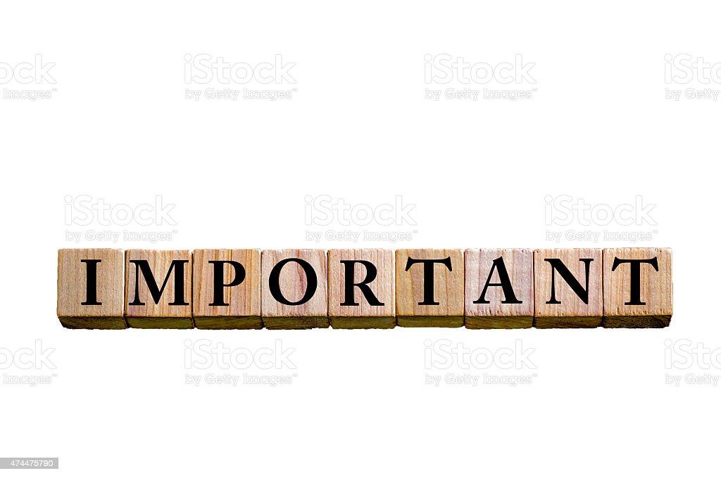 Word IMPORTANT isolated on white background stock photo