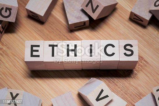 istock ETHICS Word In Wooden Cube 1138177427