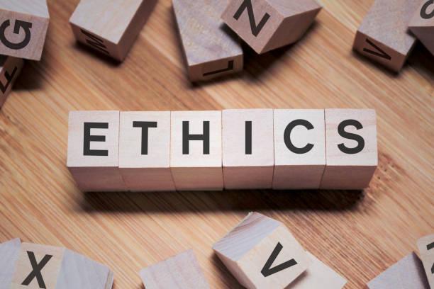목조 큐브의 윤리 단어 - 도덕성 뉴스 사진 이미지