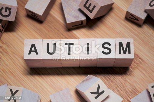 istock AUTISM Word In Wooden Cube 1138177428