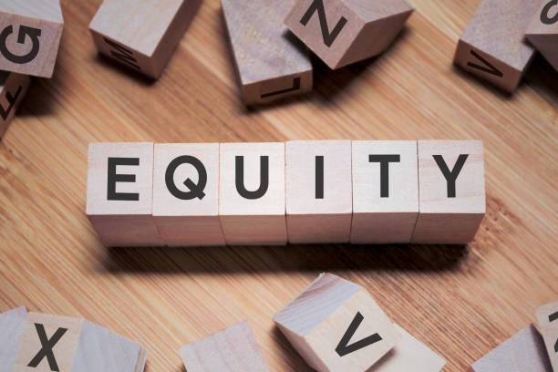 EQUITY Word In Wooden Cube stock photo