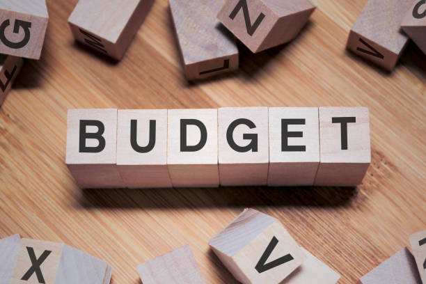 BUDGET Word In Wooden Cube Word In Wooden Cube budget stock pictures, royalty-free photos & images