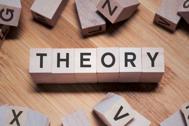 THEORY Word In Wooden Cube stock photo