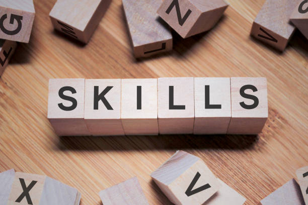 SKILLS Word In Wooden Cube stock photo