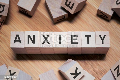 istock ANXIETY Word In Wooden Cube 1138304550