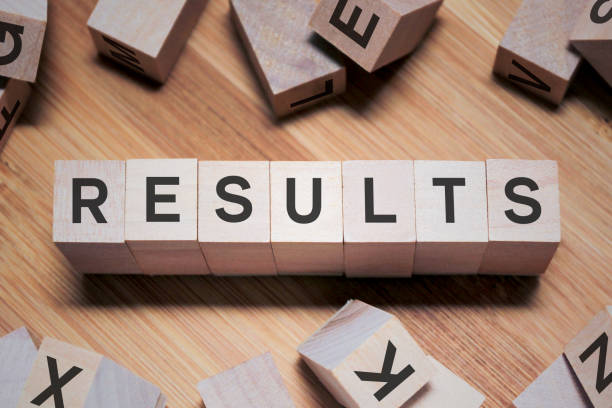 RESULTS Word In Wooden Cube stock photo