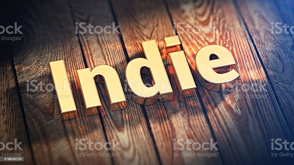 Word Indie on wood planks stock photo