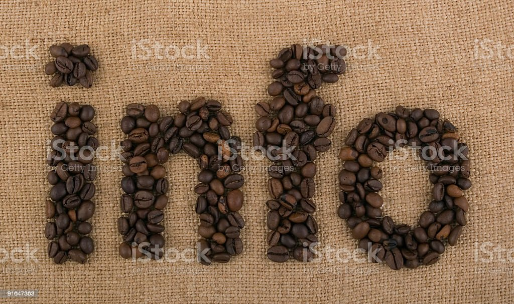Word info made from coffee beans on brown background royalty-free stock photo