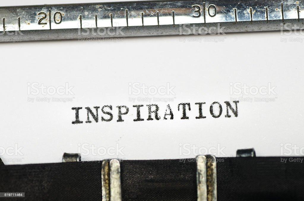 word inspirtion typed on typewriter stock photo
