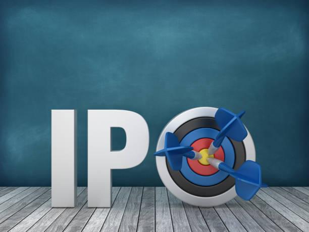 3D Word IPO mit Ziel auf Tafelhintergrund - 3D Rendering – Foto