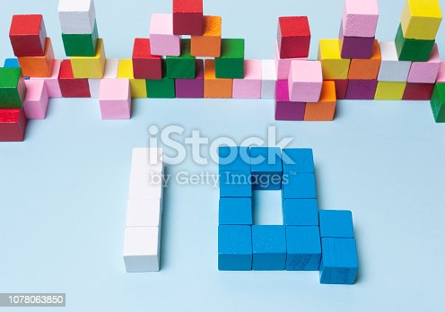 word IQ from multi-colored cubes. The concept of logical thinking, development, mind