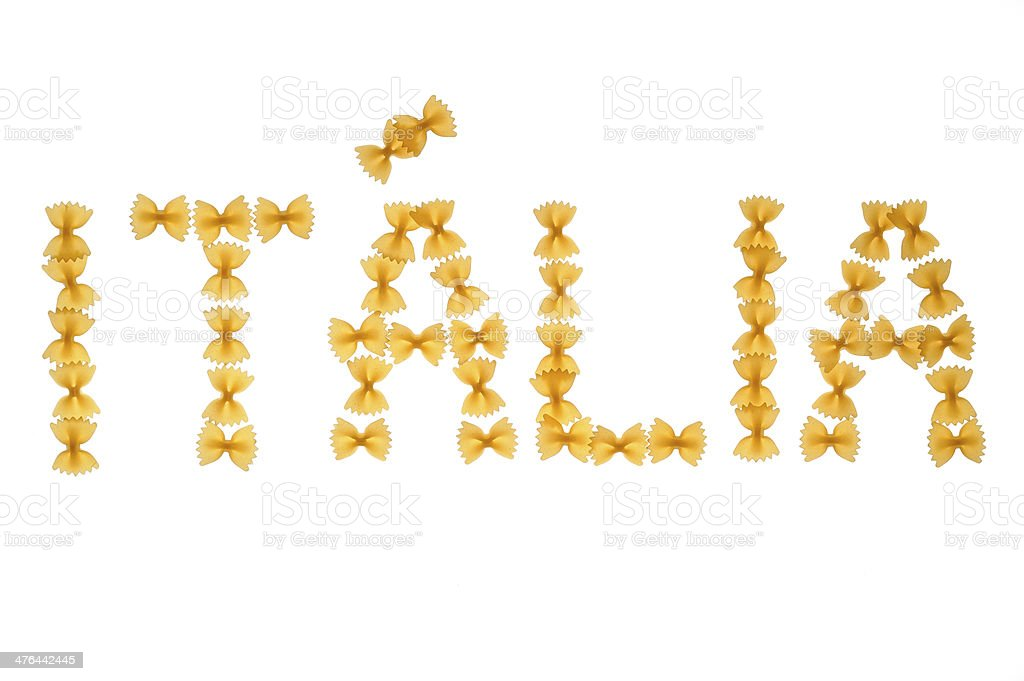 Word Italia written with farfalle royalty-free stock photo