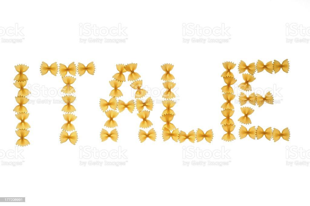 Word Italie written with farfalle stock photo