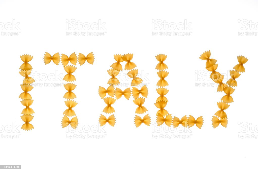 Word Italy written with farfalle royalty-free stock photo