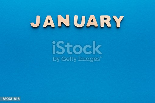 istock Word January on blue background 850931818