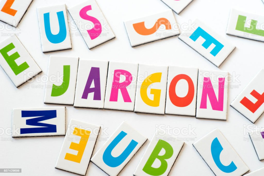 word jargon made of colorful letters stock photo