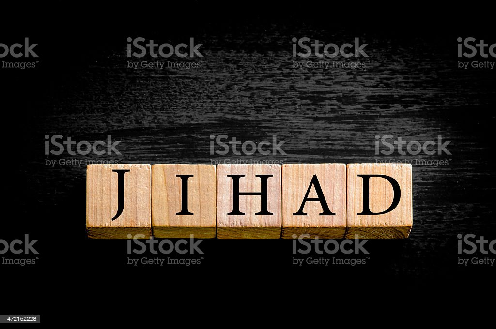 Word JIHAD isolated on black background with copy space stock photo